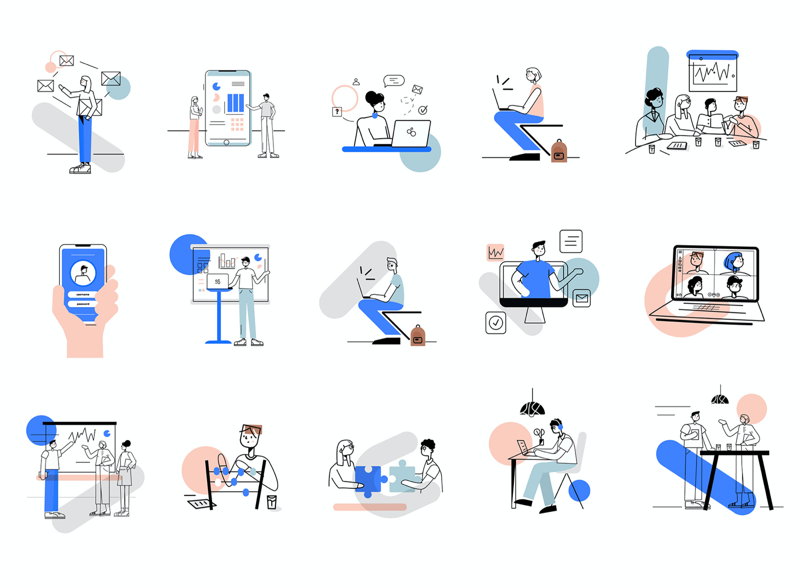 Team Work illustration Set